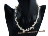 pn188 8*12mm white wing pearl sing strand necklace
