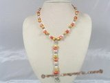 pn189 Y Style 7-8mm multi-color nugget pearl necklace