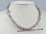 pn190 8-9mm lavender  potato shape freshwater pearls necklace with toggle clasp