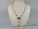 pn196 white rice shape pearl with agate necklace magnetic clasp