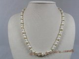 pn198 7-8mm white potato shape pearl necklace with gild tone crystal fittings