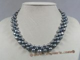 pn199 Three rows of black gradual change bread pearl necklace