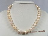 pn202 11-12mm pink potato pearl luxury single necklace