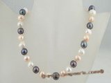 pn204 11-12mm multi-colour potato shape cultured pearl luxury single necklace