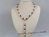 pn206 Y Style 7-8mm multi-color nugget pearl necklace