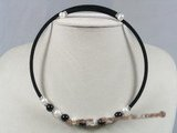 pn207 Black rubber cord & 8mm round black agate beads necklace