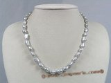 pn213 grey freshwater nugget pearl single necklace with lobster clasp