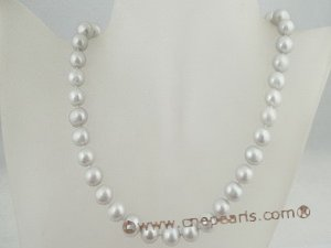 pn214 grey potato pearl single necklace with ball clasp