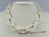 pn216 4-5mm white potato pearl rolo design choker necklace
