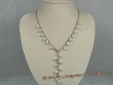 pn221 White rice shape cultured pearl Y Style necklace with metal chain