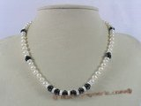 pn225 cultured pearl with black faceted Austria crystal bridal necklace