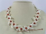 pn228 white cross biwa pearl &red coral single necklace jewelry