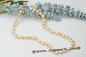 pn231 8-9mm champagne nugget cultured pearl Y style neckalce