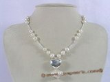 pn238 Charm potato cultured pearl xmas neckalce with sterling heart shape pendant