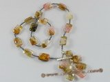 pn241 Christmas&#39s necklace with Seed pearl bead alternated with gemstone