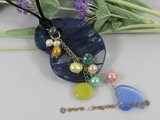 pn243 Blue glass pendant necklace dangling with multicolor cultured pearl