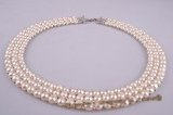pn253 Wholesale Triple rows hand knitted bridal gradual pearl choker necklace