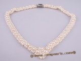 pn257 Hand knotted off-round freshwater pearl bridal choker necklace wholesale online