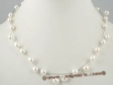 pn269 Stylish white oval pearl with silver wire pearl necklace in wholesale