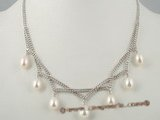 pn270 Attractive 925silver mesh chain necklace dangling with oval drop pearl