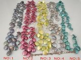pn283 wholesale 12-13mm side-drilled freshwater coin pearl neckalce in multicolor