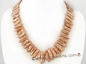 pn292 7*20mm Coffee freshwater biwa pearl single necklace on sale