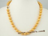 pn295 Luxury 10-10.5mm golden freshwater round pearl single necklace with 14k gold ball clasp