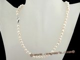 pn327 Long drilled 6-7mm cultured nugget pearl single necklace in wholesale