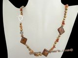 pn328 Fashion freshwater nugget pearl& shell costume necklace in brown