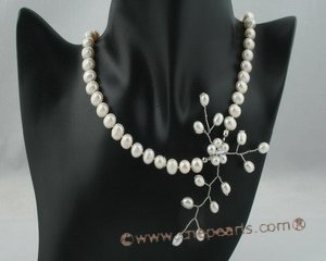 pn339 Sophisticated freshwater potato pearl bridal necklace with floral