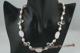 pn348 Peach nugget pearl necklace with white crystal briolets