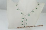 pn355 Pattern Three pendant green potato pearl Y style costume necklace