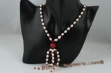 Pn363 Freshwater rice Pearl and red jade spring Necklace