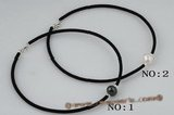 pn375 11-12mm single potato pearl and Black rubber cord necklace