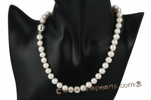 pn377 9-10mm white freshwater potato pearl princess necklace