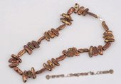 Pn394 Hand knotted brown freshwater biwa pearl princess necklace