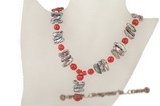 Pn397 Stylish red coral and biwa pearl Y style princess necklace