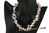pn400 Two strands purple keshi pearl and potato pearl twisted necklace