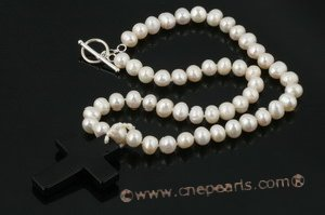 pn409 8-9mm potato pearl and black agate princess necklace