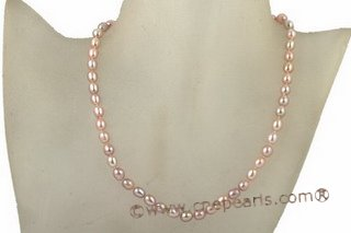Pn415 Hand Knotted Purple Freshwater Rice shape pearl Necklace