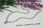 Pn416 Hand Knotted 7-8mm White Potato Pearl Cotume Necklace