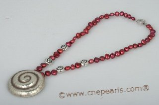 Pn428 Sterling Silver Wine Red Nugget Pearl & Pendant Necklace