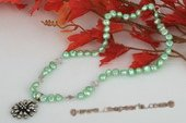 Pn429 Handmade Nugget Pearl Necklace with 925 silver Flower Pendant