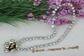 Pn433 Handcrafted Grey Nugget Pearl Princess Necklace with Flower Charm