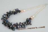 pn434 Three rows Black keshi pearl and gradual potato pearl costume necklace