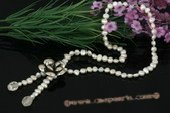 Pn438 Affordable Nugget Pearl and 925 Silver Flower Pendant Necklace