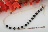 Pn455 Handcrafted Sterling Silvet Black Potato Pearl Prom Necklace