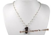 pn492 Hand wired Potato Seed Pearl Princess Necklace with Garnet Beads