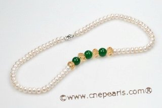 pn495 7-8mm White Buton Pearl and Crystal Princess Necklace