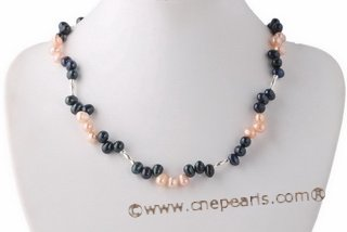 Pn529 Trendy Black and Pink Cultured Pearl Princess Necklace